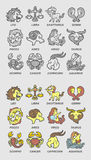 Zodiac Icons Sketch Stock Photography