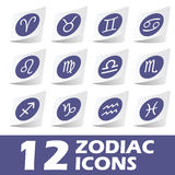 Zodiac icons sticker set Royalty Free Stock Images