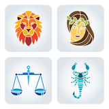 Zodiac icons. Vector illustration of astrology symbols: Leo, Virgo, Libra, Scorpio royalty free illustration