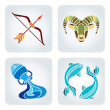 Zodiac icons. Vector illustration of astrology symbols: Sagittarius, Capricorn, Aquarius and Pisces vector illustration