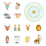 Zodiac icons vector set. Zodiac signs flat buttons set of horoscope symbols star collection. Astrology zodiac icons set horoscope vector aquarius libra Royalty Free Stock Photography