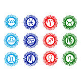 Zodiac icons. Water fire air earth elements different colors Stock Photos
