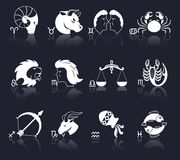 Zodiac Icons White Stock Image