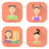 Zodiac icons of women in flat style. Aries, Gemini, Taurus, Scorpio. Stock Image