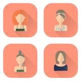 Zodiac icons of women in flat style. Leo, Libra, Virgo, Sagittarius. Royalty Free Stock Photos