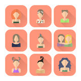 Zodiac icons of women in flat style. Royalty Free Stock Images