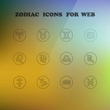 Zodiac icons for your design. Eps 10, vector elegant illustration Royalty Free Illustration