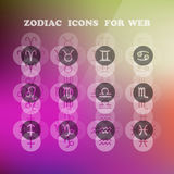 Zodiac icons for your design. Eps 10, vector elegant illustration Stock Images