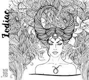 Zodiac: Illustration of Taurus zodiac sign as a beautiful girl.Vector art with portrait of a pretty girl. Black, white drawing. Over ornate pattern. Horoscope vector illustration