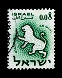 Zodiac: Leo, Zodiac signs serie, circa 1961. MOSCOW, RUSSIA - OCTOBER 3, 2017: A stamp printed in Israel shows Zodiac: Leo, Zodiac signs serie, circa 1961 royalty free stock photography