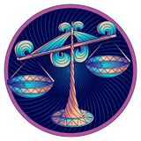Zodiac Libra σημάδι, μπλε συμβόλων ωροσκοπίων, διάνυσμα ελεύθερη απεικόνιση δικαιώματος