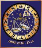 Zodiac Libra σημάδι. Κύκλος ωροσκοπίων. Αναδρομικός Στοκ Εικόνες