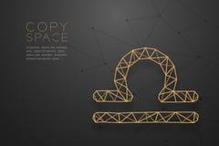 Zodiac Libra χρυσή δομή πλαισίων πολυγώνων σημαδιών wireframe, οχυρό διανυσματική απεικόνιση