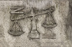 Zodiac - Libra or Scales,. A stone relief Royalty Free Stock Image