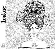Zodiac: Libra zodiac sign as a beautiful girl. Vector art with p. Ortrait of a pretty girl. Black, white drawing over ornate pattern. Horoscope coloring book Stock Photography