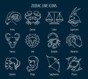 Zodiac line icons Stock Photography