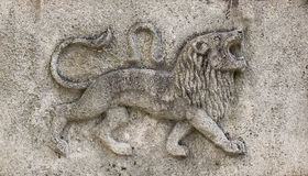 Zodiac - Lion , a stone relief. Zodiac - Lion , a relief on sand stone Stock Photo