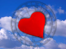Zodiac and love. Zodiac and red heart on blue sky like symbol of astrology and love stock illustration