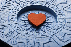 Zodiac and love. Heart inside a astrology plate with zodiac signs Royalty Free Stock Image