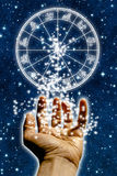 Zodiac. A male hand open with zodiac wheel Stock Images