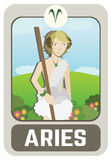 Zodiac man card : Aries Royalty Free Stock Images