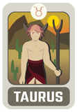 Zodiac man card : Taurus Royalty Free Stock Photos