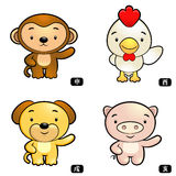Zodiac Monkey and Chickens, Dogs and Pigs Mascot Stock Image