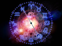 Zodiac nebulae. Abstract design made of Zodiac symbols, gears, lights and abstract design elements on the subject of astrology, child birth, fate, destiny Stock Photo