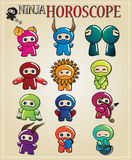 Zodiac ninja signs Stock Images