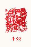 Zodiac of ox year. Paper cut of Chinese zodiac of ox year Royalty Free Stock Photography