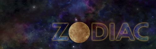 Zodiac Panoramic Planetarium Banner with Golden Planet Stock Photography