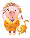 Zodiac pig Leo. Chinese horoscope symbol 2019 year royalty free illustration