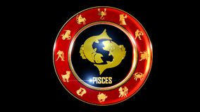 Zodiac pisces background. This stock motion graphic features , the symbol for the Zodiac sign in Indian astrology. The Zodiac sign is surrounded with a red disc stock illustration