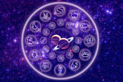 Zodiac with planets. Symbols of zodiac signs in circle with planets Jupiter and Saturn in the center over starry Universe stock illustration