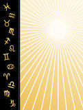 Zodiac Poster. Copy space to add text for your event, announcement, flier or poster. Twelve detailed golden signs of the Zodiac: Aquarius, Aries, Cancer Stock Photo