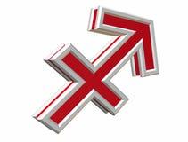 Zodiac saggitarius simbol. Red zodiac saggitarius simbol 3d on the withe background Stock Photography