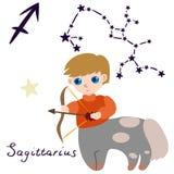 Zodiac Sagittarius σημάδι στο ύφος κινούμενων σχεδίων Απομονώστε στο άσπρο υπόβαθρο r διανυσματική απεικόνιση