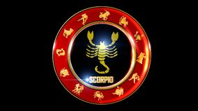 Zodiac scorpio background. This stock motion graphic features , the symbol for the Zodiac sign in Indian astrology. The Zodiac sign is surrounded with a red disc royalty free illustration
