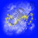 Zodiac Scorpion. Zodiac sign Scorpion. Cancer on a blue background Stock Photography