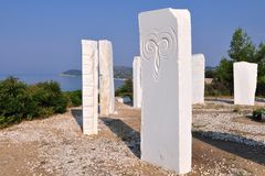 Zodiac on seacoast of island Thassos,Greece Royalty Free Stock Photography