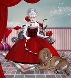 Zodiac series - Leo. Zodiac series inspired by Marie Antoinette - Leo as a baroque woman with lion Stock Photos