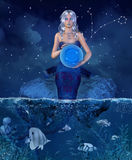 Zodiac series - Pisces. Zodiac series - Beautiful girl like personification of pisces. Zodiac sign Stock Images