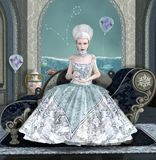 Zodiac series - Pisces. Zodiac series inspired by Marie Antoinette - Pisces as a baroque girl with balloon and fishes Stock Image