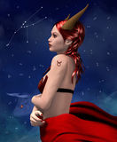Zodiac series - Taurus. Zodiac series - Beautiful girl like personification of taurus. Zodiac sign Royalty Free Stock Photography