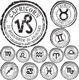 Zodiac set. Abstract grunge rubber stamp set with zodiac signs Stock Photos
