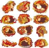Zodiac Set Girl Face Red Stock Photo