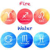 Zodiac set on a watercolour background Royalty Free Stock Photography