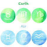 Zodiac set on a watercolour background Royalty Free Stock Images