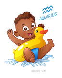 Zodiac sign Aquarius. African American child enjoys swimming. water fun, splashing and rescue circle inflatable duck. Royalty Free Stock Photography