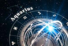 Zodiac Sign Aquarius And Armillary Sphere On Black Background. 3D Illustration Stock Photos